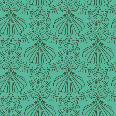 A seamless vector damask pattern with elegant seashell and seaweed ornament in ocean greens. Decorative vintage surface print design.