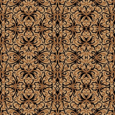 A seamless vector ornamental rug pattern in brown colors. Decorative surface print design. Stock Illustratie
