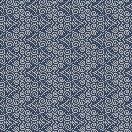 A seamless vector chevron pattern wiith spiral shapes. Decorative surface print design.