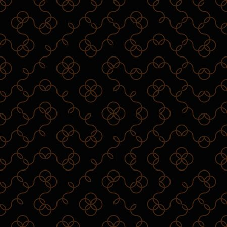 A seamless vector linear pattern with circles and loops on a dark background. Surface print design.