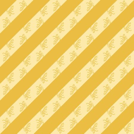 A seamless vector pattern with yellow diagonal stripes and leaves. Surface print design. Stock Illustratie