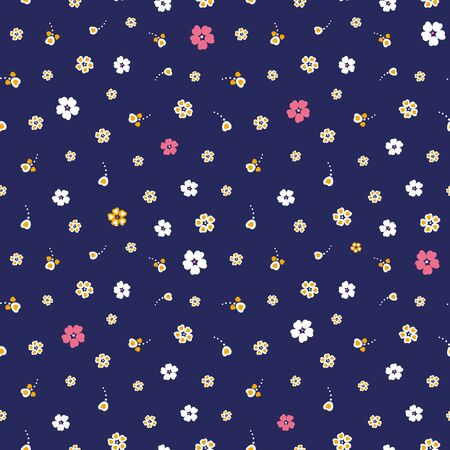 A seamless vector pattern with simple colorful flowers on dark navy blue background. Ditsy surface print design. Stock Illustratie