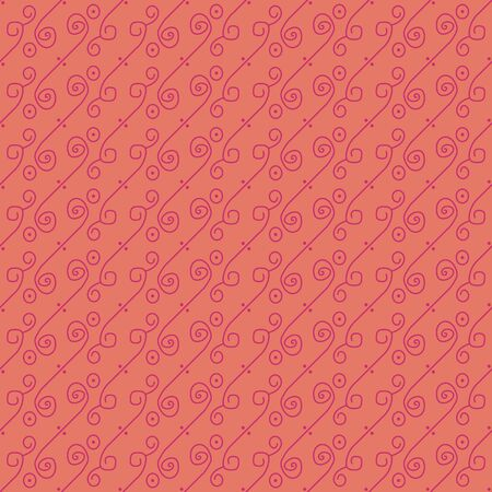 A seamless vector pattern with swirly lines in pink colors. Decorative surface print design.