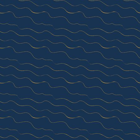 A seamless vector pattern with wavy golden lines on a dark blue background. Ocean themed surface print design. Stock Illustratie