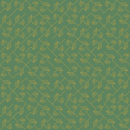 A seamless vector abstract pattern with angled yellow lines on a green background. Unisex geometric surface print design.