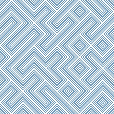 A seamless vector pattern with blue and white linear shapes. Unisex surface print design. Stock Illustratie