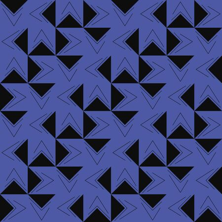 A seamless vector diagonal pattern with black triangles on purlplish blue background. Surface print design.