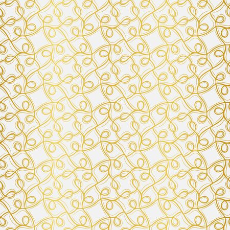 A seamless vector pattern with golden linear ornament on a light background. Decorative elegant surface print design. Great for backgrounds, cards, invitations, fabrics, and gift wrap.