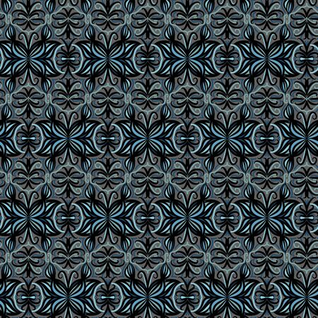 A seamless vector pattern with ornamental butterflies in dark moody colors. Decorative surface print design.