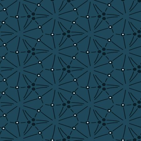 A seamless vector pattern with lines and dots forming hexagonal shapes. Surface print design.