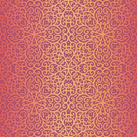 A seamless vector pattern with golden linear ornament on a vibrant pink background. Decorative surface print design. Great for fabrics,, wrapping paper, packaging and cards.