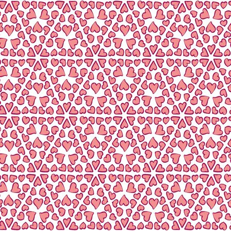 A seamless vector pattern with pink hearts ornament on a white background. Decorative surface print design. Great for valentines and wedding stationery. Stock Illustratie