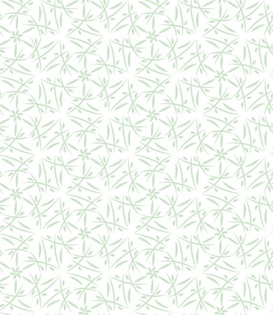 A seamless vector pattern with spring botanical ornament in pastel green on a white background. Decorative surface print design. Great for feminine stationery and organic products packaging.
