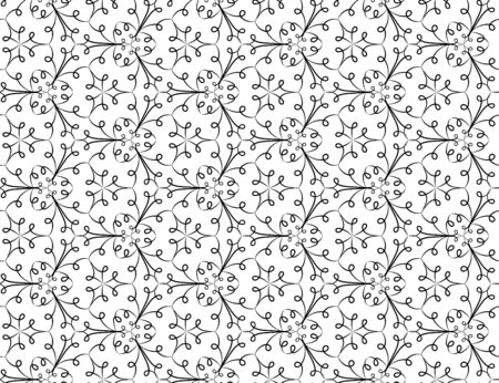 A seamless vector pattern with doodle linear lacy ornament in black and white. Elegant surface print design. Stock Illustratie