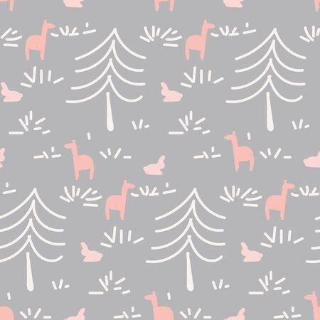 A doodle forest themed seamless vector pattern. Surface print design. Stock Illustratie