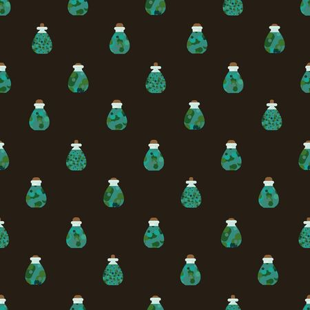 A magical witchcraft potions seamless vector pattern. Halloween surface print design. Stock Illustratie