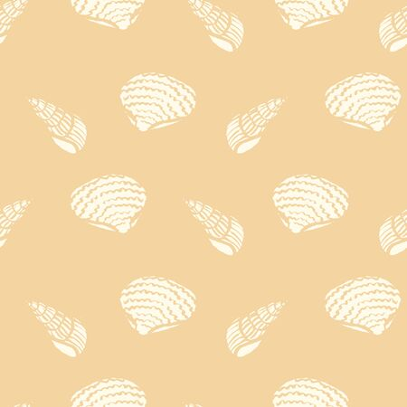 A nseamless vector pattern with white shells silhouettes on a sand colored background. Calm pastel surface print design.