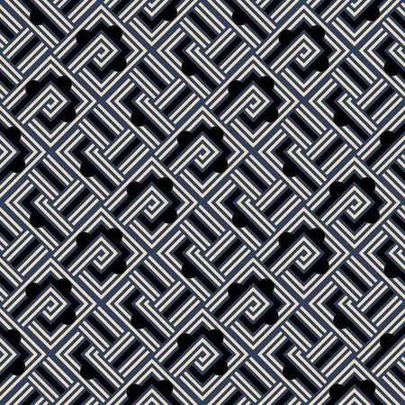 An abstract geometric seamless vector pattern with shapes in black, white, and navy blue. Unisex surface print design.
