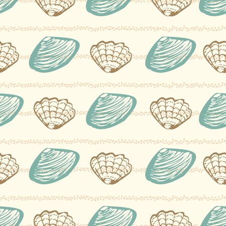 A clams and oysters seamless vector striped pattern in calming light colors. Decorative surface print design.
