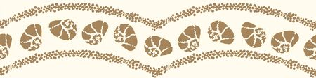 A seashells and waves border print in sand color. Decorative beach themed surface print design. Embellisment for cards, posters and invitations. Can be repeated to use as seamless vector pattern. Иллюстрация