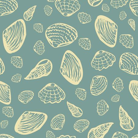 A light colored seashells on a muted blue background seamless vector pattern. Decorative ocean themed surface print design. Great for fabrics, stationery and packaging.