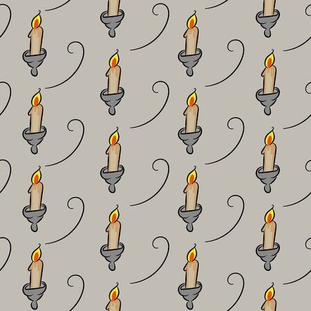 A seamless vector pattern with ancient candlesticks on a grey stone background. Surface print design.