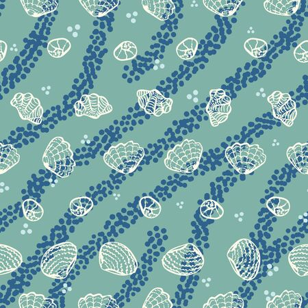 A seamless vector pattern with white sea shells and blue stripes on a aqua green background. MArine themed surface print design. Stock Illustratie