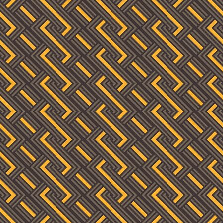 An abstract geometric seamless vector pattern with golden yellow and brown weave lines. Unisex surface print design. Stock Illustratie