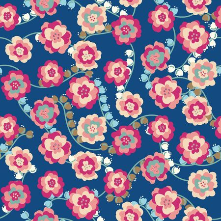 A bright peony and lily of the valley flowers on a classic blue background seamless vector pattern. Colorful feminine surface print design. Great for spring and summer.