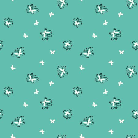A simple doodle butterflies seamless vector pattern on a mint background. Girly surface print design. Great for fabrics, wrapping paper and cards.