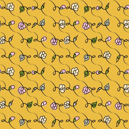 A doodle spring flowers on a vibrant yellow background seamless vector pattern. Girly surface print design in happy colors.