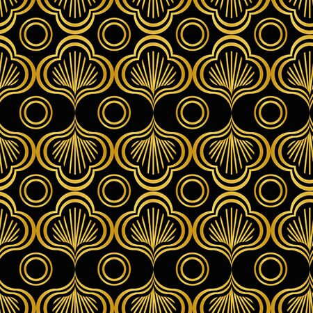 An art deco golden leaves and circles seamless vector pattern on a dark background. Ornamental surface print design. Stock Illustratie