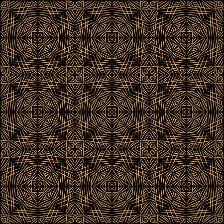 An art deco golden linear ornament on a black background seamless vector pattern. Decorative surface print design.