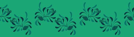 A seaweed fish an shells vector border print in green color. Underwater themed surface print design. Great for cards and posters. Can be repeated seamlesly to use as a pattern.