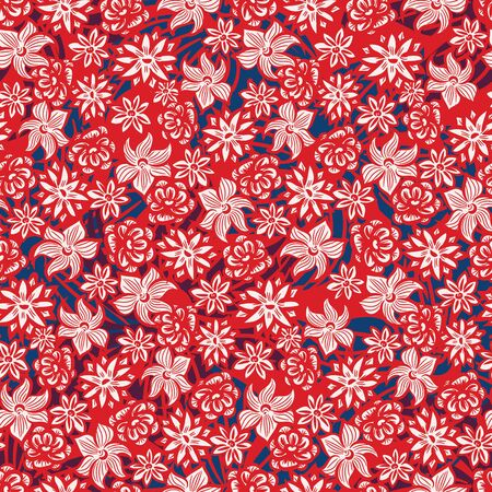 A seamless vector pattern with summer flowers, orchids and roses in red, white and navy blue. Decorative vibrant surface print design. Great for fabrics, cards, wrapping paper and packaging.