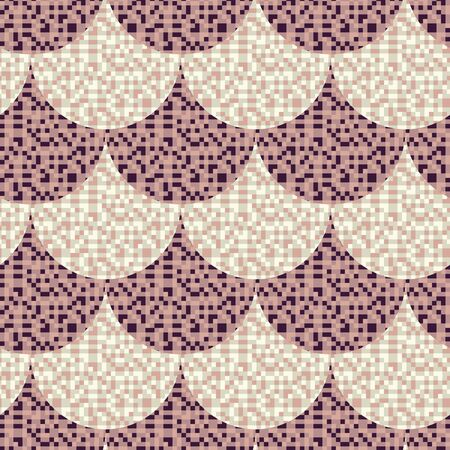 A pixelated fishscale seamless vector pattern in purple and violet colors. Surface print design. Векторная Иллюстрация