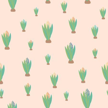 A seamless vector pattern wih budding hyacinth flowers. Springtime surface print design.