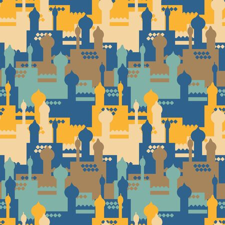 A colorful palace with towers seamless vector pattern in yellow, blue, teal and beige. Cityscape surface print design. Great repeat background for posters and cards.