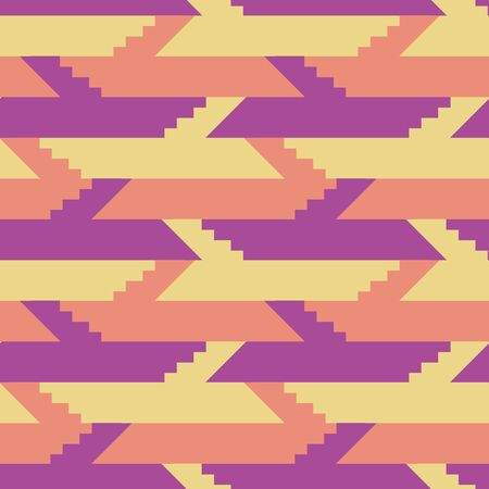 A pink stairs geometric seamless vector pattern in pink purple and yellow. Graphic surface print design.