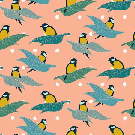 Great tit birds sitting on a branches seamless vector pattern on a pink background. Nature themed surface print design. Banco de Imagens - 139807208
