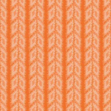 Orange vertical striped seamless vector pattern with arrow shapes. Decorative monochrome surface print design.