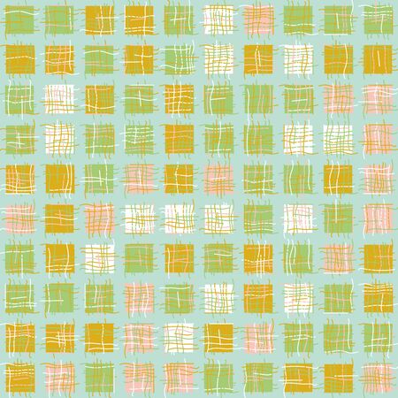 Patchwork squares geometric seamless vector pattern in pastel colors. Decorative abstract surface print design.