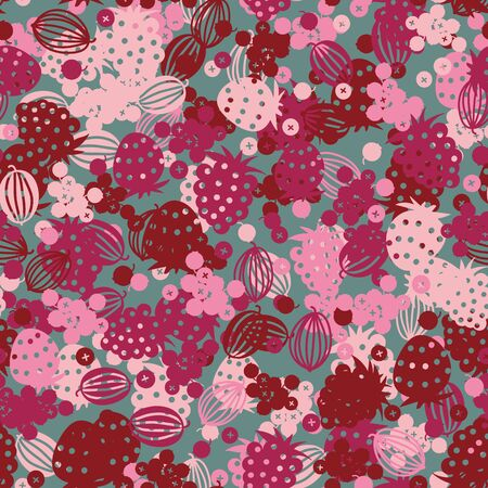 Pink summertime berries seamless vector pattern on a teal background. Scattered strawberry raspberry gooseberry and currant fruit. Surface print design in juicy colors.