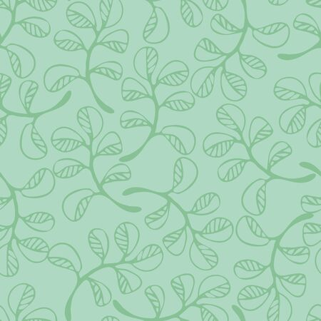 Simple doodle leaves seamless vector pattern in pale green colors. Minimal nature themed surface print design.