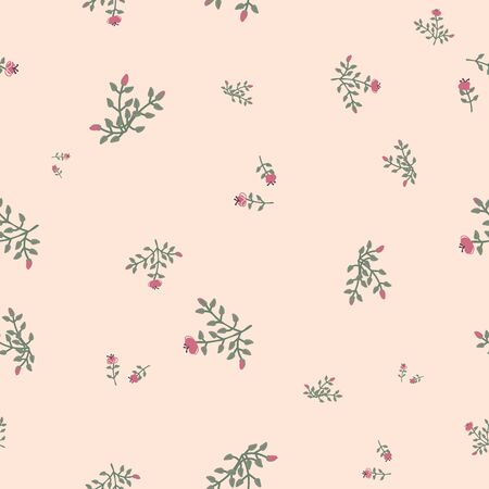 Ditsy floral seamless vector pattern in muted vintage colors. Romantic feminine surface print design. Great for fabrics, stationery and packaging. 일러스트