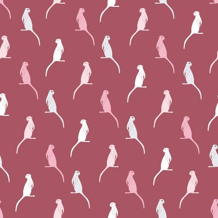 Meerkats silhouettes seamless vector pattern in pink colors. Wildlife themed surface print design. Stock Illustratie