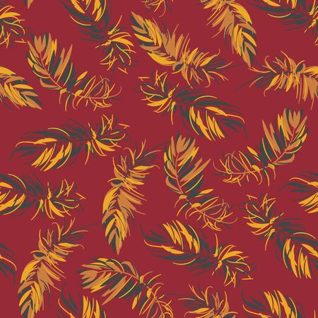 Graphic fluffy feathers seamless vector pattern in yellow maroon and grey colors. Animal themed surface print design. Illusztráció