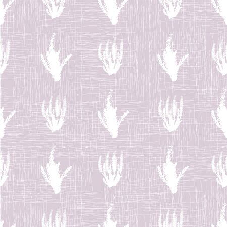 White lavender flower silhouettes seamless vector pattern on a pastel violet background. Surface print design.