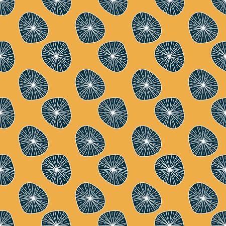 Abstract top view of cactus plants growing on a yellow sand seamless vector pattern. Fun graphic surface print design.