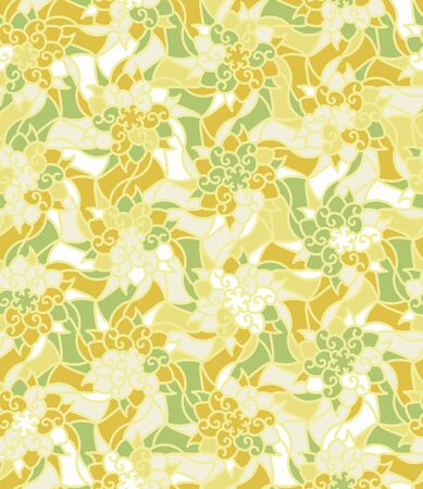 Ornamental botanical stained glass seamless vector pattern in yellow green and white colors. Decorative surface print design. Great for fabric, wrapping paper and packaging. 일러스트